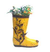 Yellow gumboot planter