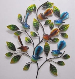 Fantails tree wall art blues and brown