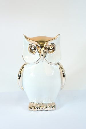 Silver and white ceramic owl wide