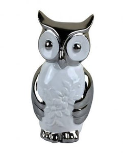 Silver and white ceramic owl