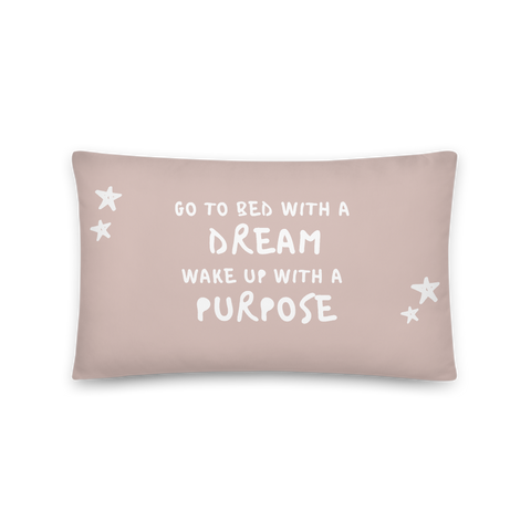 "Abendroutine: Kissen ""Go to bed with a dream"" - rose"