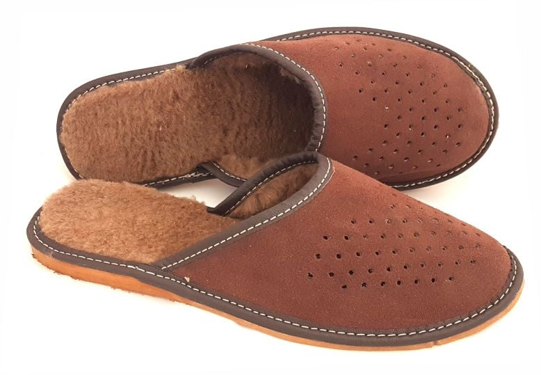 SLIPPERS-MEN'S-WINTER-POLISH-VIBES -GIFT-GALLERY - LEATHER-KAPCIE -MESKIE -SKORZANE-PANTOFLE