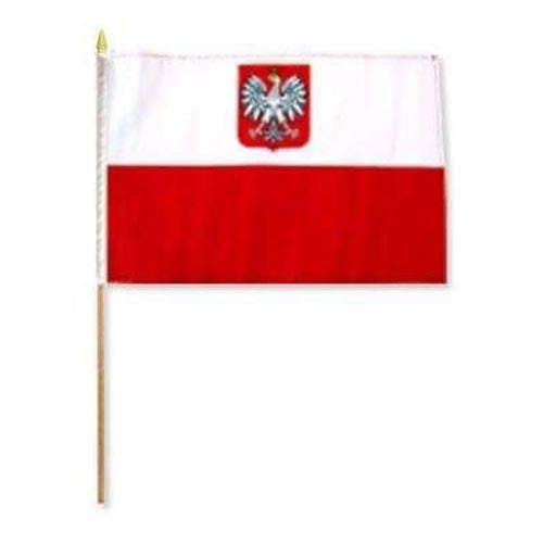 Poland Flag With Eagle  on Wooden Stick
