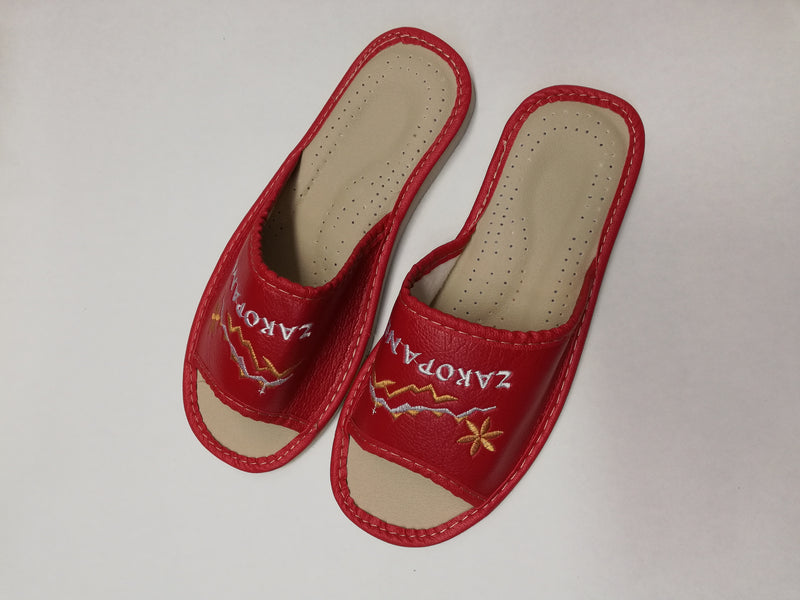 slippers, embroidered, red, hand-made, polish,vibes,gift,gallery