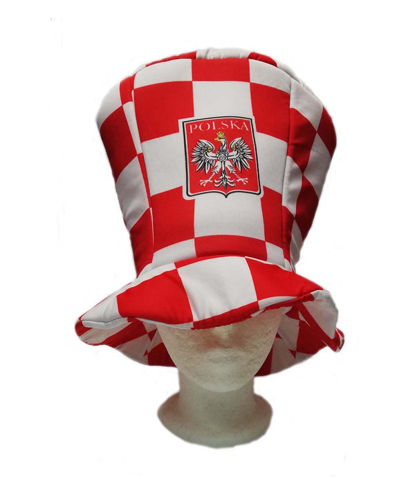 Polish White and Red Checkered Pattern Tall Hat