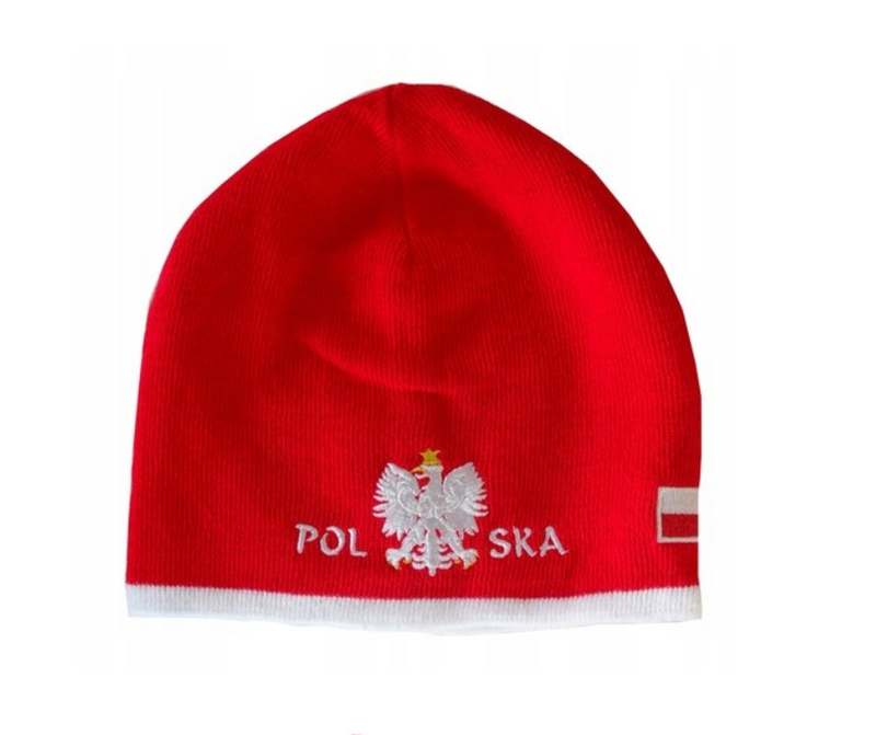 Polska- Red Winter Hat With Eagle And Flag