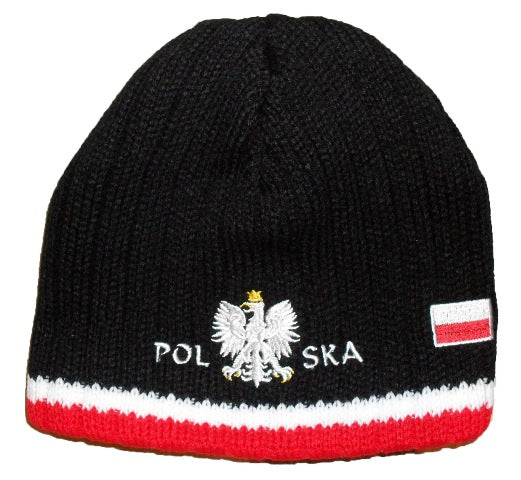 Polska - Black  Wide Pinstripe Knit Winter Hat With Eagle And Flag