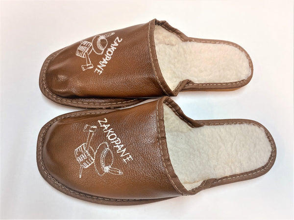 SLIPPERS-MEN'S-POLISH-VIBES -GIFT-GALLERY - LEATHER-KAPCIE -MESKIE -SKORZANE-PANTOFLE-GORALSKIE
