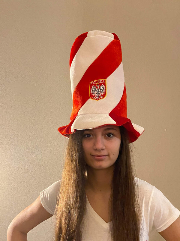 Polish White and Red Stripes Embroiderd Eagle Tall Hat