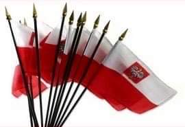 Poland Flag With Eagle on Plastic Stick