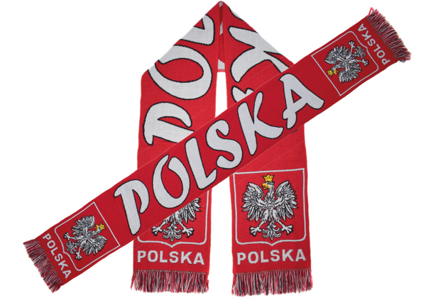 POLSKA  scarf, white and red.
