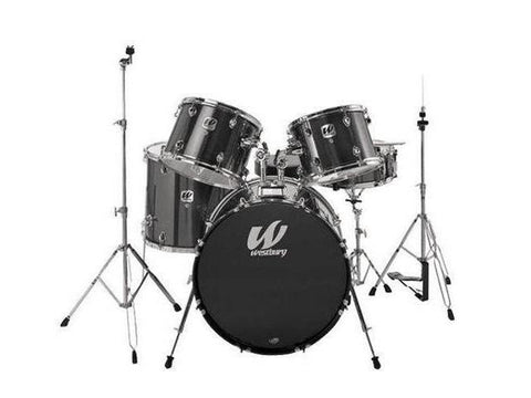 Westbury 5 PC Black Sparkle 22 BD Stage Drum Kit w/ Hardware