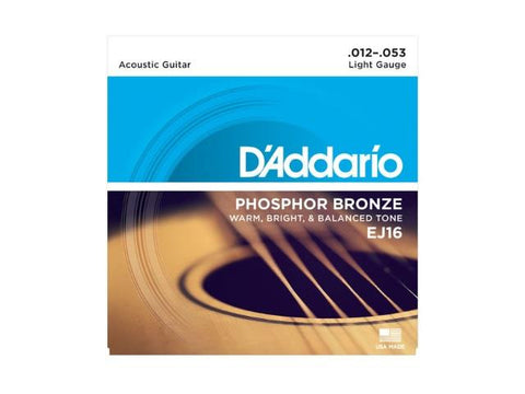 D'Addario EJ16 Phosphor Bronze, Light, 12-53 Acoustic Strings