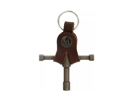 A&F Raw Drum Key w/ Leather Holder