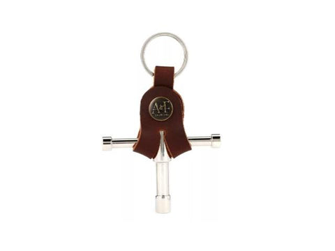 A&F Nickel Drum Key w/ Leather Holder