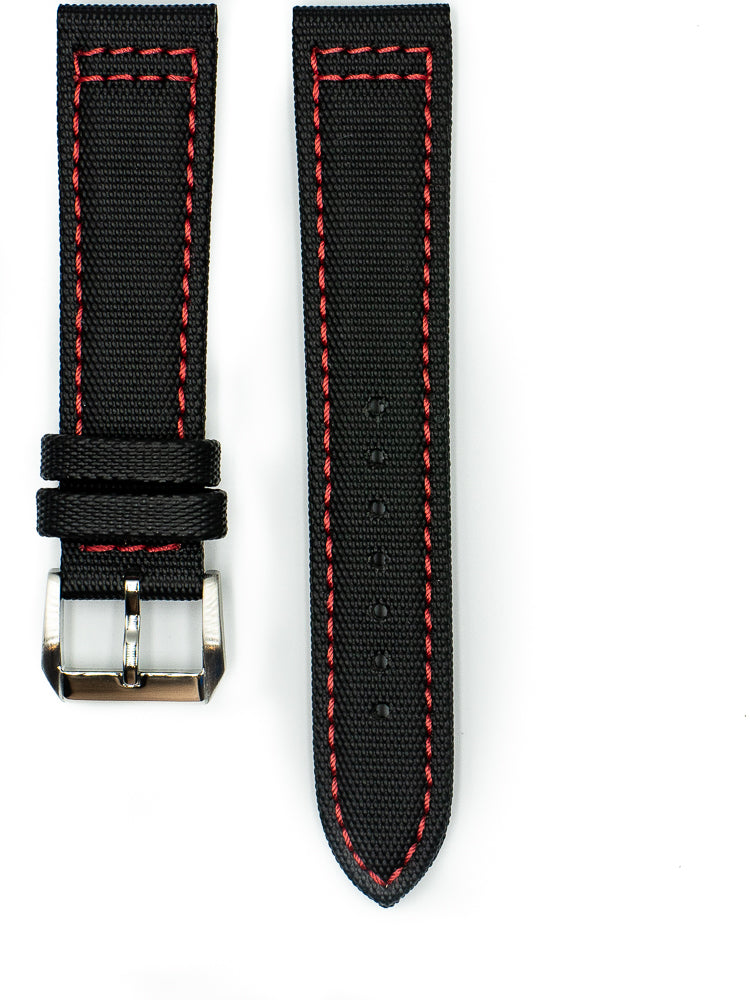 Tactical Sailcloth - Black (Red Stitches)