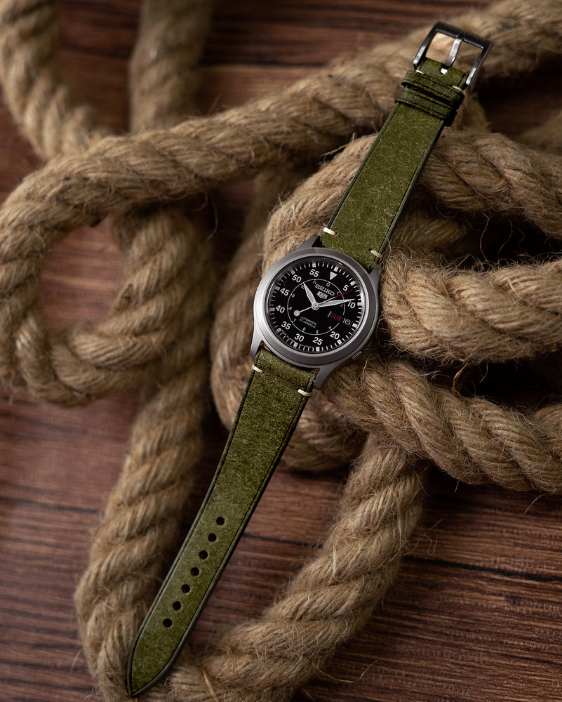 Vintage Italian Distressed Leather Strap (Olive Green)