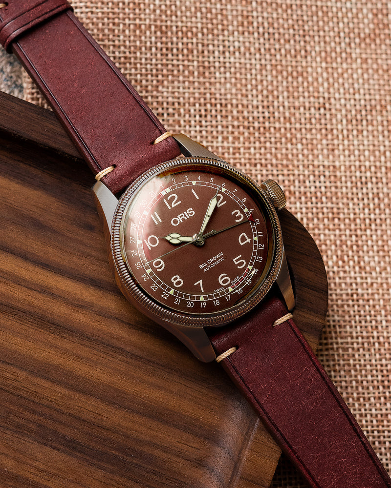 Vintage Italian Distressed Leather Strap (Burgundy)