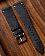 Vintage Italian Distressed Leather Strap (Dark Indigo)