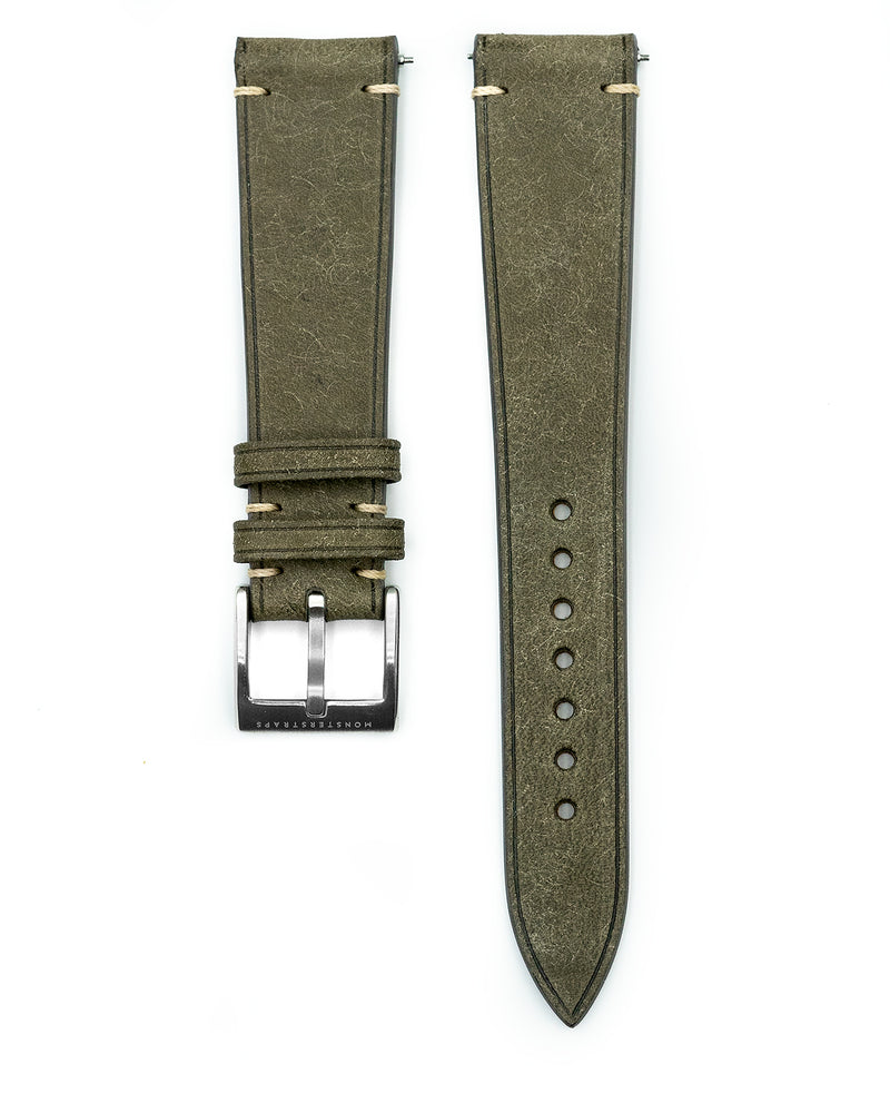 Vintage Italian Distressed Leather Strap (Warm Grey)