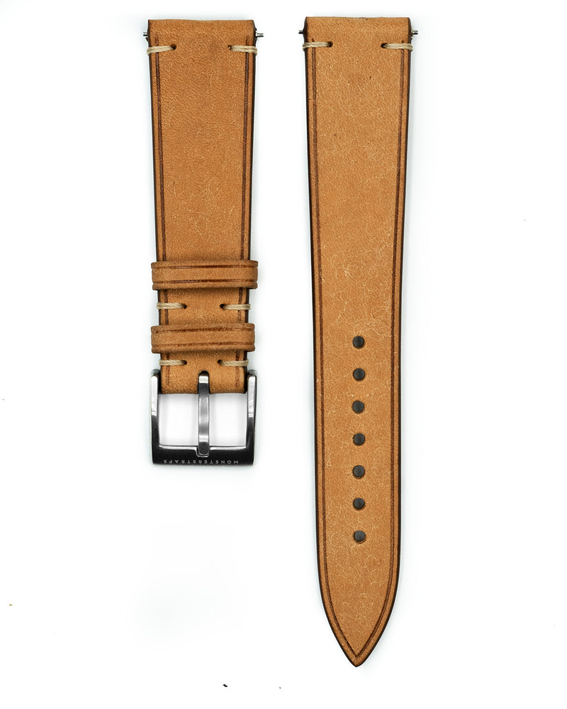 Vintage Italian Distressed Leather Strap (Natural)