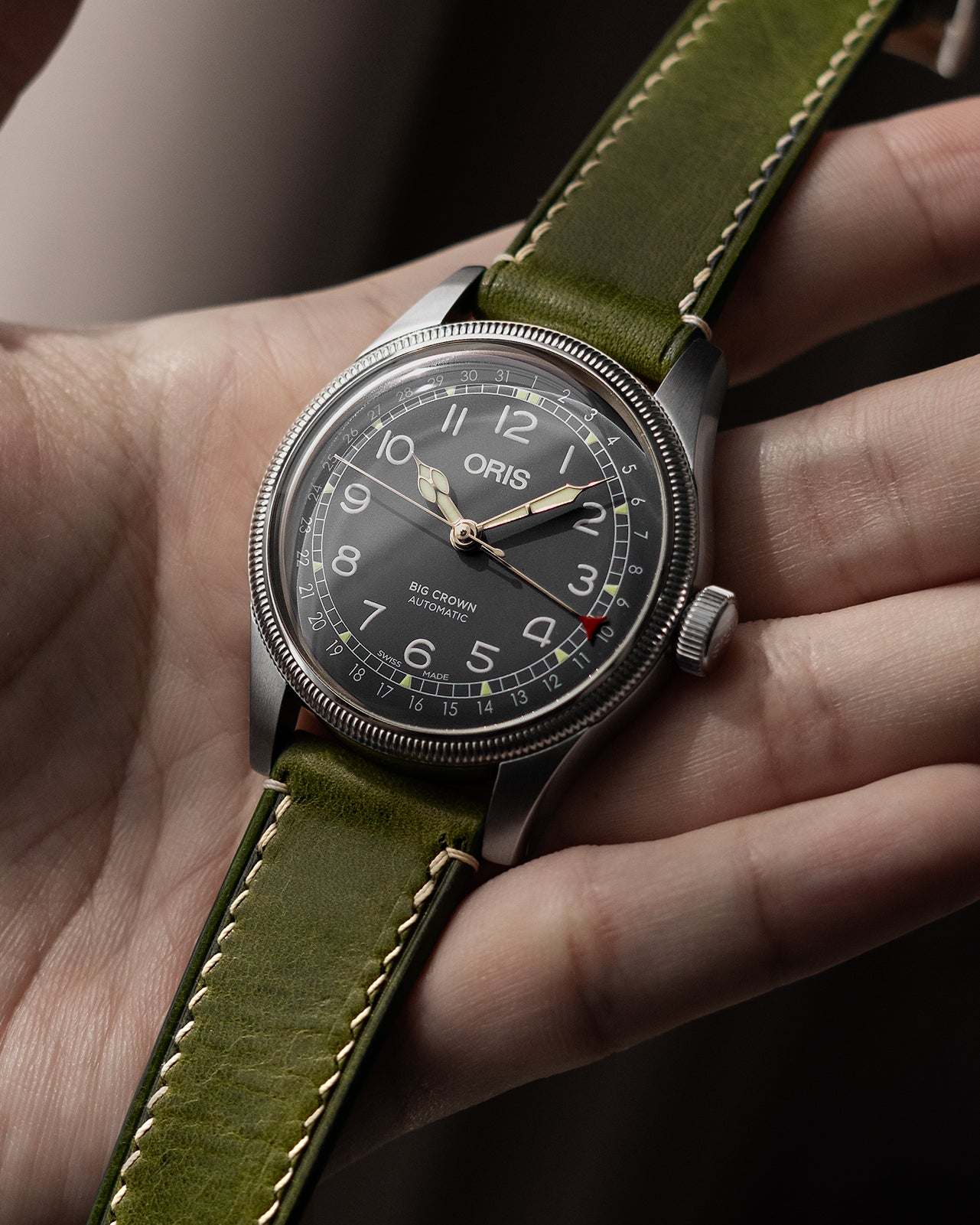Vintage Italian Waxed Leather Strap (Olive Green)