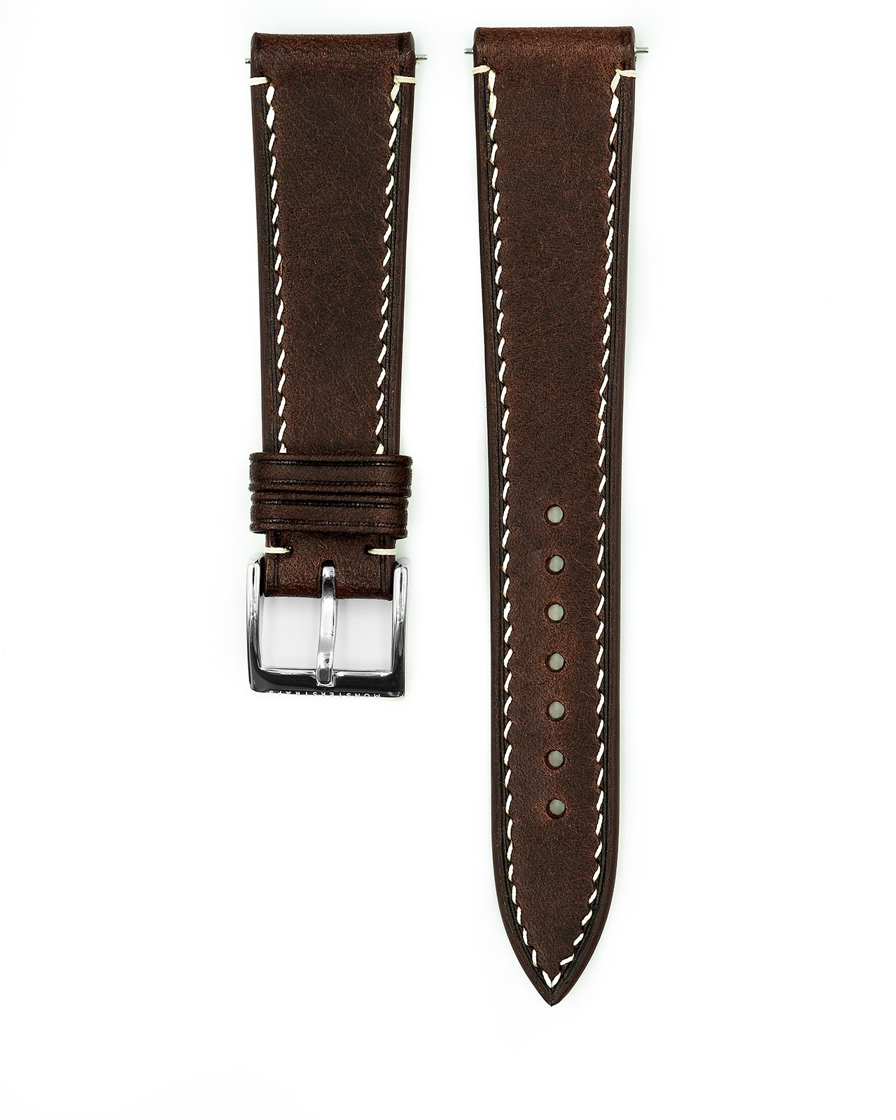 Vintage Italian Waxed Leather Strap (Rust Brown)