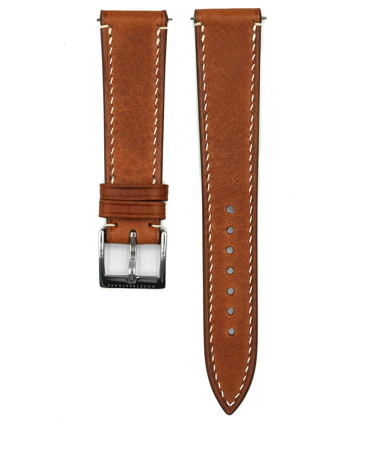Vintage Italian Waxed Leather Strap (Saddle Brown)