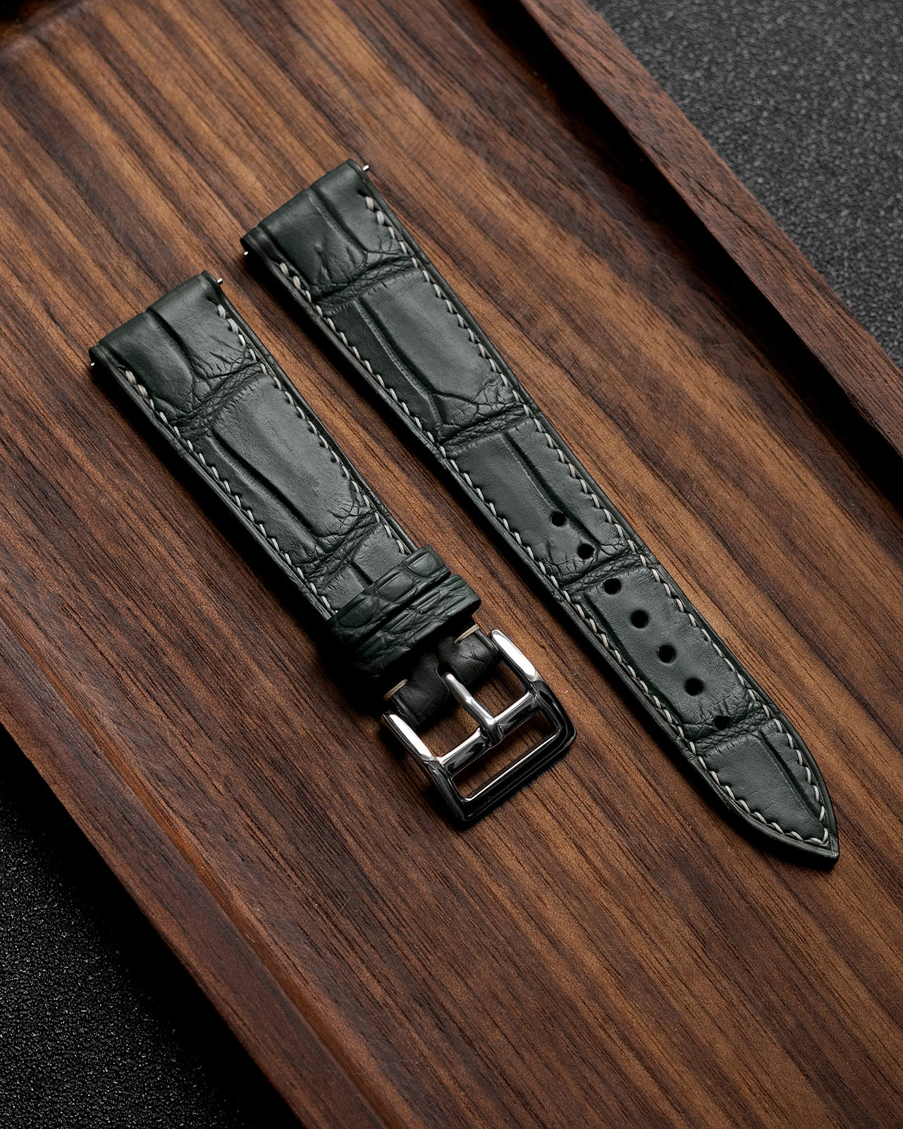 Alligator Leather Strap (Sage Grey, Semi-matte)