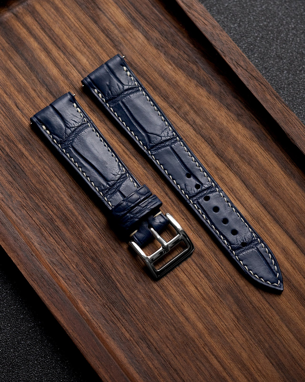 Alligator Leather Strap (Navy Blue, Semi-matte)