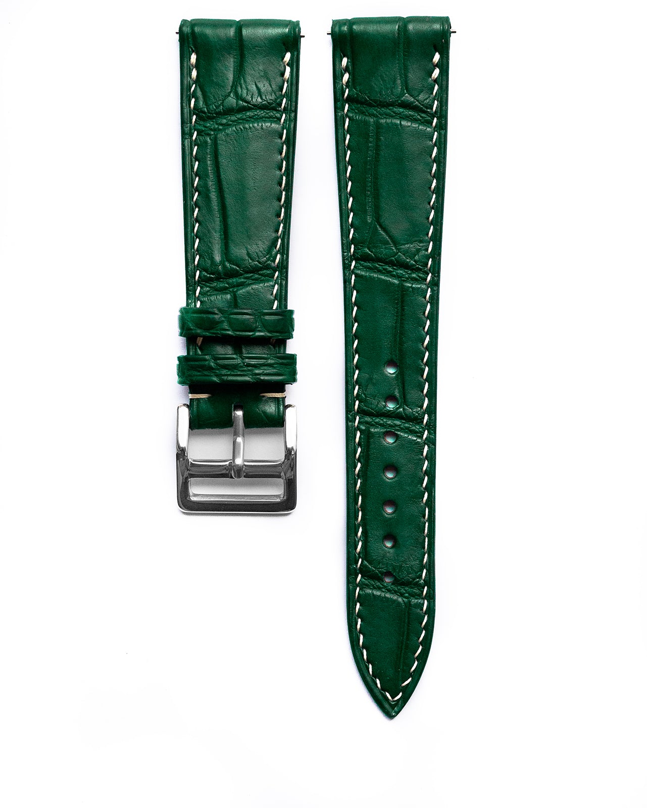 Alligator Leather Strap (Royal Green, Semi-matte)
