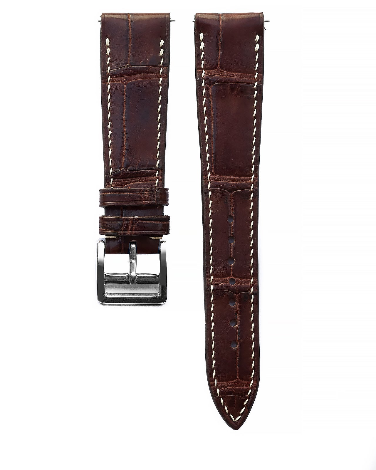Alligator Leather Strap (Brown, Semi-matte)