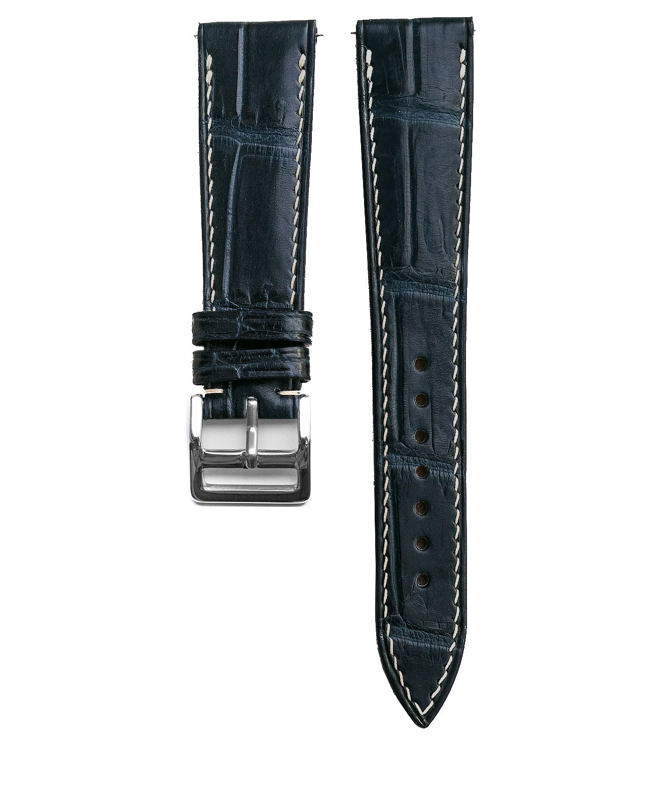Alligator Leather Strap (Marine Blue, Semi-matte)
