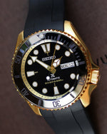 RUBBER SKX007 - BLACK (YELLOW GOLD HARDWARE)