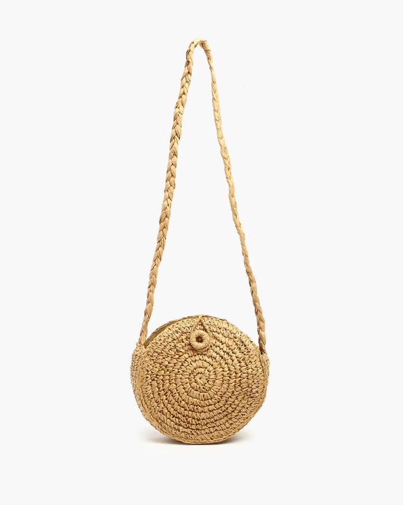 Jute Sling Bag with Braided Strap .