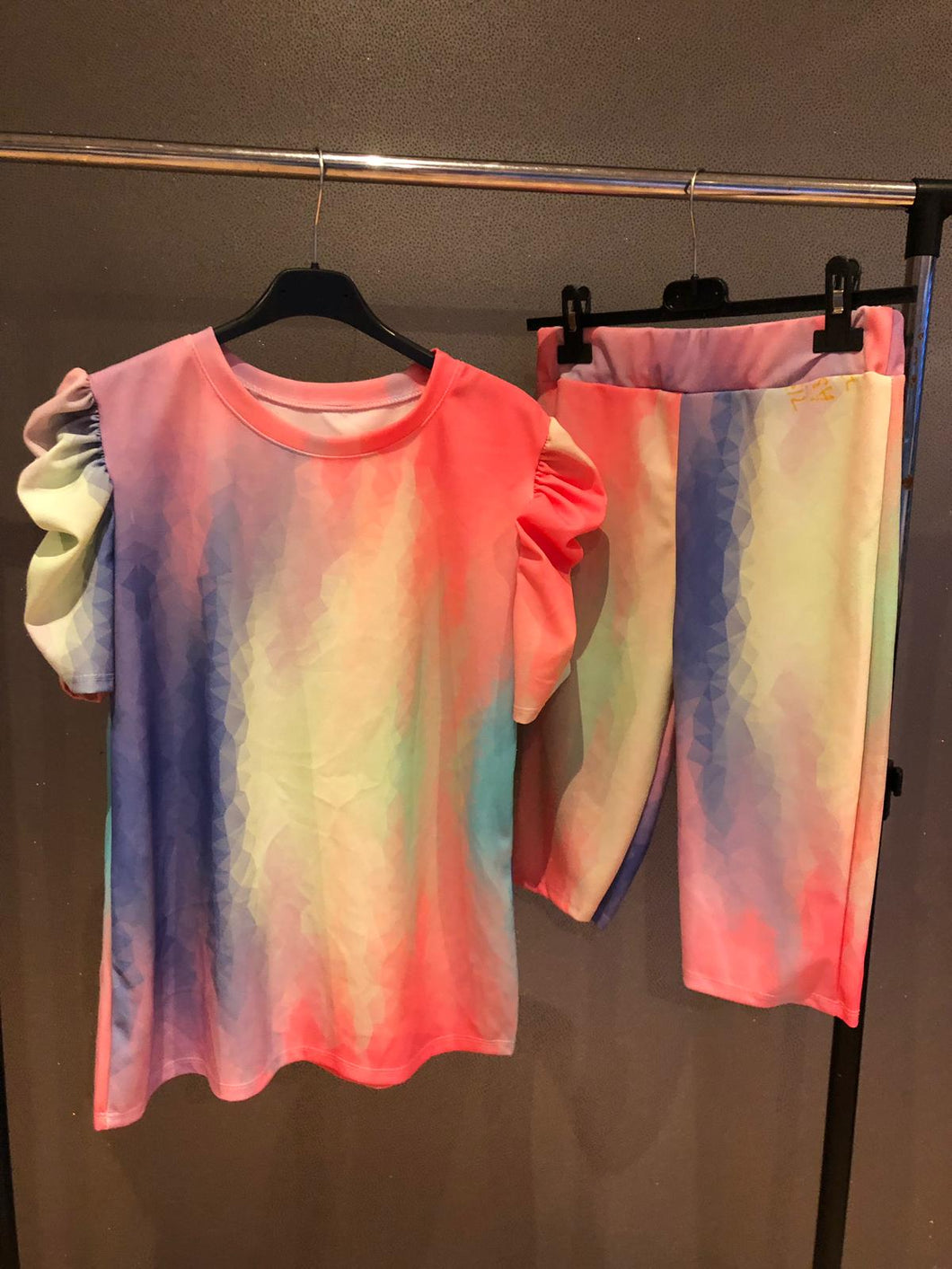 Ari Loungewear Shorts Set - Rainbow Tie Dye