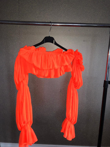 Ruffle Crop Top - Orange