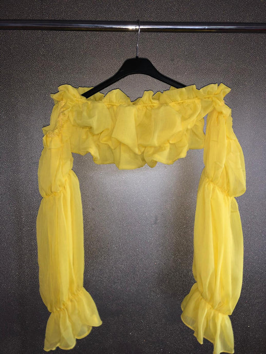 Ruffle Crop Top - Yellow
