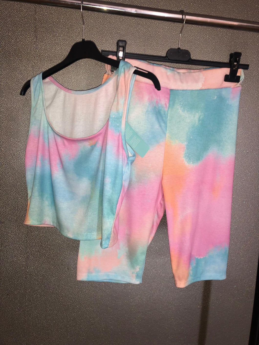 Alexis Tie Dye Crop Top Shorts Set - Pink & Blue