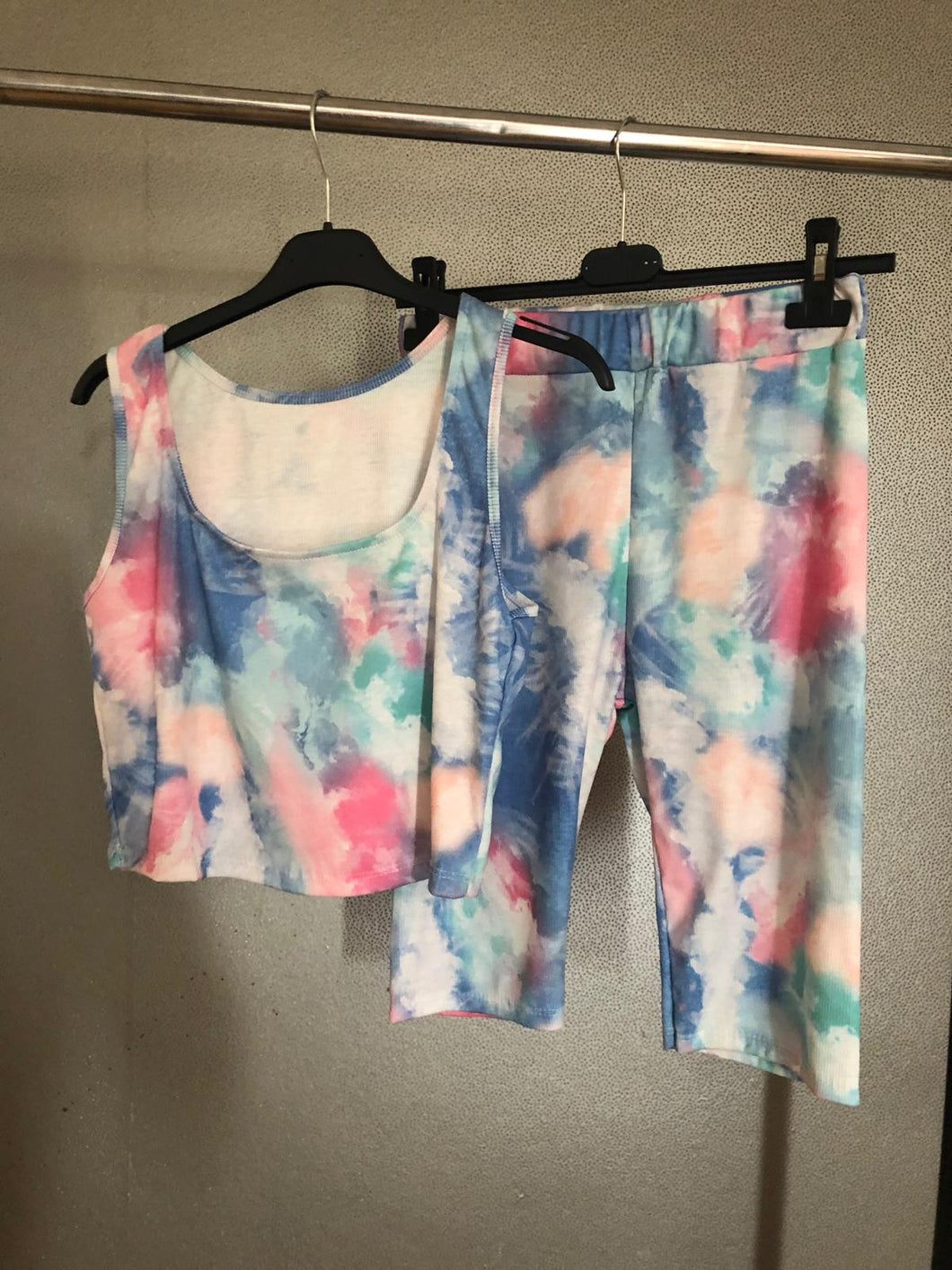Alexis Tie Dye Crop Top Shorts Set - Dark Blue & Pink