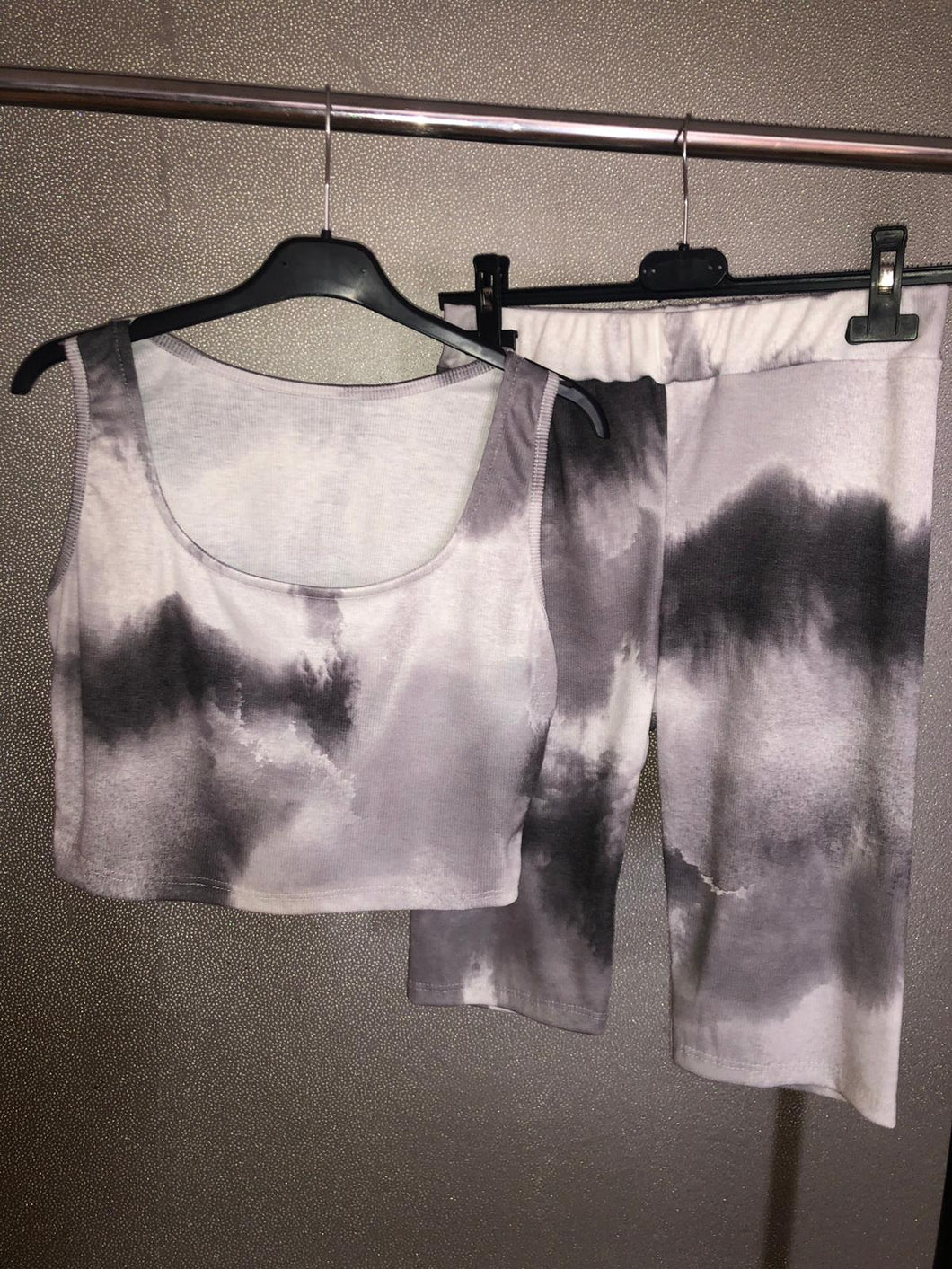 Alexis Tie Dye Crop Top Shorts Set - Black & White