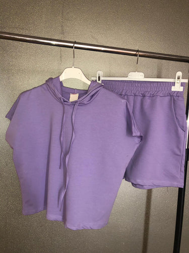 Fallon Hoodie and Shorts Set - Lilac