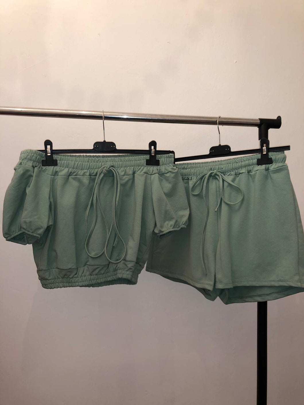 Amber Shorts & Crop Top Set - Mint Green