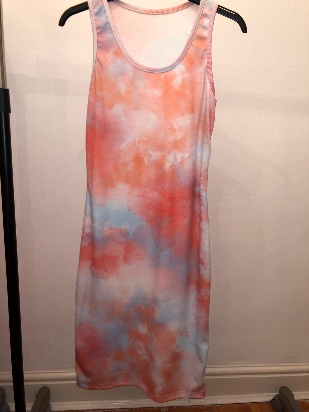 Phoebe Tie Dye  Vest Dress - Orange