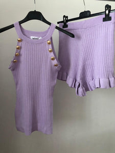 Carrie Vest & Shorts Set - Lilac
