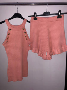 Carrie Vest & Shorts Set - Pink