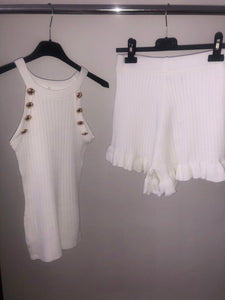 Carrie Vest & Shorts Set - White