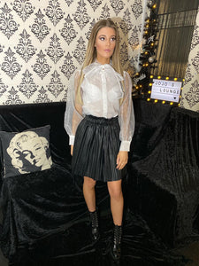 Sheer Tie Up Bow Shirt