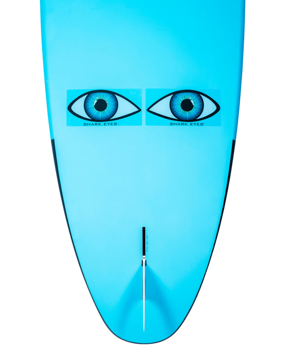 Shark-Eyes-stickers-visual-deterrent-clear-on-surfboard