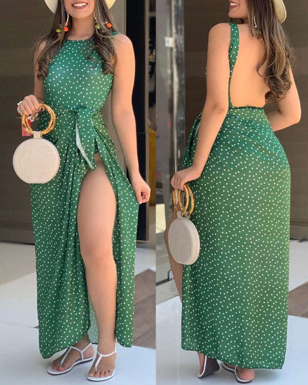 Dots Print Backless One-Piece Swimsuit & Slit Skirt Set